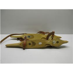 Wood Strap-On Ice Skates with Metal Blades