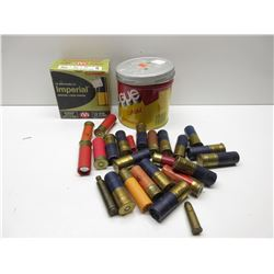 Tobacco Can of 23 mixed shotshells & box of 23 shotshell