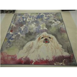 Pekingese Painting by the Famous Bejing Artist Hu Lian Jiang