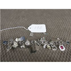 Sterling Silver Charm Bracelet with 22 Charms