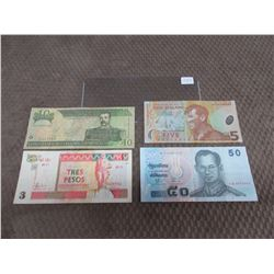 Foreign Currency - Cuba, Dominicana, Thailand & New Zealand