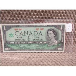 1967 Canadian Centennial 1 Dollar Bill