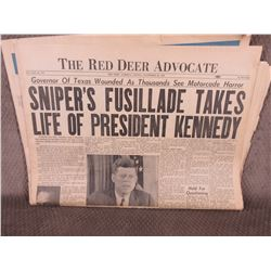"November 22, 1963 Red Deer Advocate ""Kennedy Assassination"""