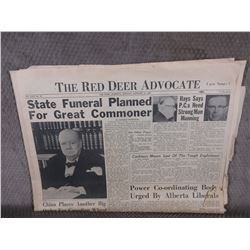 "January 25, 1965 Red Deer Advocate ""Sir Winston Churchill"""