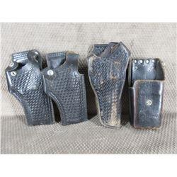 3 Black Handgun Holsters & Radio Holster