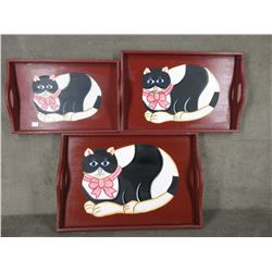 Set of 3 Wood Trays with Cat Pictures