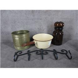 Brown Bottle, Ceramic Pot, Metal Hanger, Brass Pot