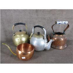 4 Metal Tea Pots