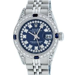 Rolex Ladies Stainless Steel 26MM Blue Diamond Lugs Datejust Wristwatch