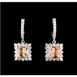 2.74 ctw Morganite and Diamond Earrings - 14KT White Gold
