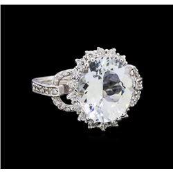 4.27 ctw Aquamarine and Diamond Ring - 14KT White Gold