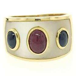 Wide 14K Yellow Gold 1.44 ctw FINE Cabochon Ruby Sapphire & Mother of Pearl Ring