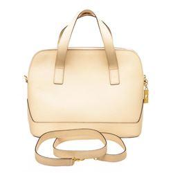Celine Vintage Cream Textured Leather Tote Shoulder Bag