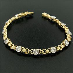 18k Yellow Gold 2.15 ctw Bezel Round Brilliant Diamond Open Heart Tennis Bracele