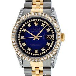 Rolex Mens 2 Tone 14K Blue Vignette String Diamond Lugs Datejust Wristwatch