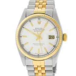 Rolex Mens 2 Tone 14K White Index Datejust 36MM Wristwatch