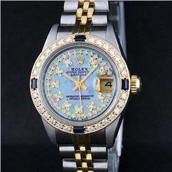 Rolex Ladies 2 Tone 18K Gold Bezel Blue MOP Diamond & Sapphire Datejust Wriswatc