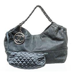 Chanel Blue Leather Coco Cabas Shoulder Bag