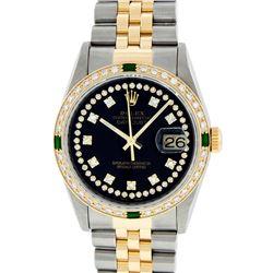 Rolex Mens 2 Tone 14K Black String Diamond & Emerald 36MM Datejust Wristwatch