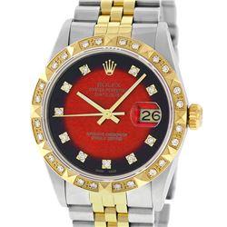 Rolex Mens 2 Tone 14K Red Vignette Pyramid Diamond Datejust Wristwatch