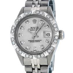 Rolex Ladies Stainless Steel Silver Pyramid Diamond Datejust Wristwatch
