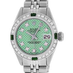 Rolex Ladies Stainless Steel Green Stamp Diamond & Emerald Datejust Wristwatch