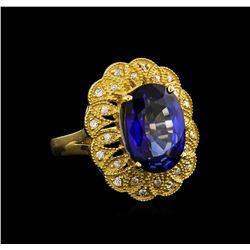 14KT Yellow Gold 7.38 ctw Tanzanite and Diamond Ring