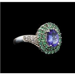14KT White Gold 1.53 ctw Tanzanite, Emerald and Diamond Ring