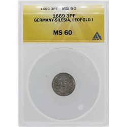 1669 Germany-Silesia Leopold 3 Pfennig Coin ANACS MS60