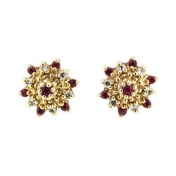 0.25 ctw Ruby and Diamond Starbust Studs - 14KT Yellow Gold