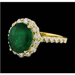 3.37 ctw Emerald and Diamond Ring - 14KT Yellow Gold