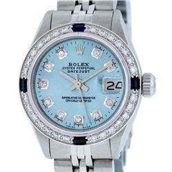 Rolex Ladies Stainless Steel Sky Blue Diamond & Sapphire Datejust Wristwatch