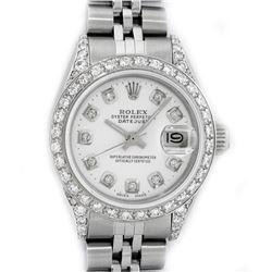 Rolex Ladies Stainless Steel White Diamond Lugs & Datejust Wristwatch
