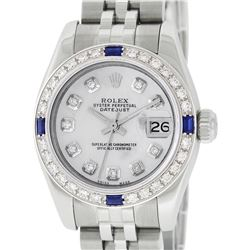 Rolex Ladies Stainless Steel Quickset Mother Of Pearl Diamond & Sapphire Datejus