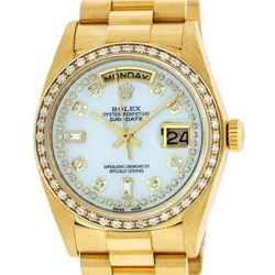 Rolex Mens 18K Yellow Gold MOP String Diamond Quickset President Wristwatch With
