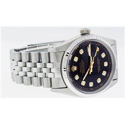 Rolex Mens Stainless Steel 36MM Black Diamond Datejust Wristwatch