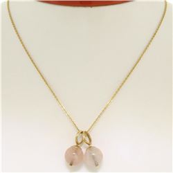 "14K Yellow Gold Double 10mm Pink Rose Quartz Bead Pendant & 16"" Cable Link Chain"