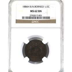 British North Borneo 1886-H 1/2-cent NGC Certified MS-62 Brown! Lustrous brown coin with sharp detai