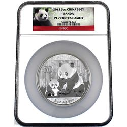 China 2012 China Silver 5oz Panda NGC PF-70 Ultra Cameo (plastic holder is scratched, coin is fine).