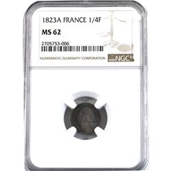 France 1823-A 1/4 Franc NGC Certified MS-62 Louis XVIII, strong strike with attractive patina