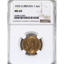 Great Britain 1925 Gold Sovereign NGC Certified MS-65! A pristine coin (22K Fine and contains 0.2354