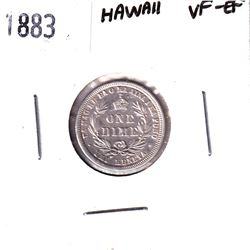 Hawaii 1883 One Dime in VF-EF Condition.