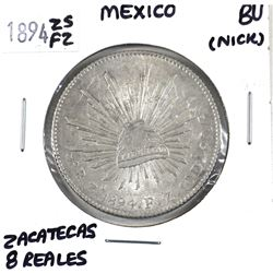 Mexico 1894 ZS FZ 8 Reales (Zacatecas) in BU Condition. Bright coin with several die cracks and anom