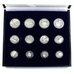Mexico 1986 World Championship of Football (soccer) 12-coin Silver Proof set in original box and C.O