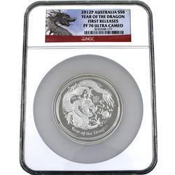 Perth Mint Issue: 2012P Australia 5oz Silver $8 Year of the Dragon NGC PF-70 Ultra Cameo First Relea