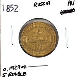 Russia 1852 5 Rouble Gold in AU Condition. Coin is .900 fine and contains 0.1929oz