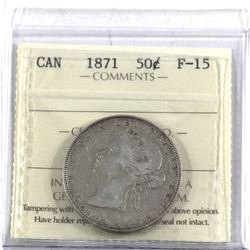 50-cent 1871 ICCS Certified F-15. A nice problem free coin.