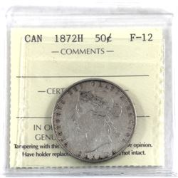 50-cent 1872-H ICCS Certified F-12.