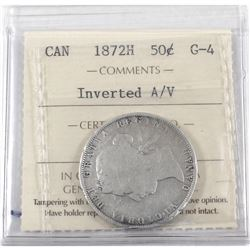 50-cent 1872-H Inverted A/V ICCS Certified G-4. Full Date and lettering with some small rim bumps.