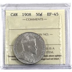50-cent 1908 ICCS Certified EF-45. A nice mid-grade example of a Key Date coin.